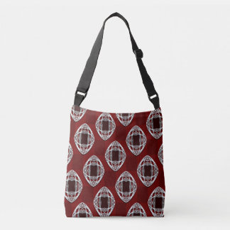 Brick Red Nouveau Checked Pattern Crossbody Bag