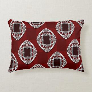Brick Red Nouveau Checked Pattern Decorative Pillow
