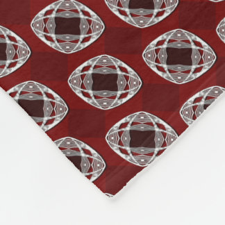 Brick Red Nouveau Checked Pattern Fleece Blanket