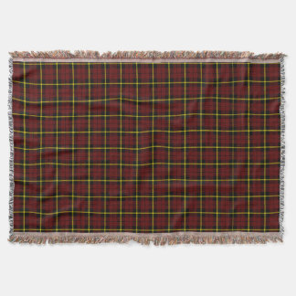Brick red plaid print, black yellow stripe throw blanket