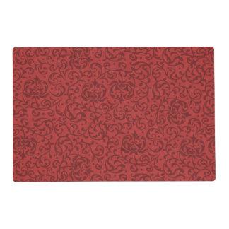 Brick Red Vintage Floral Damask Pattern Laminated Placemat