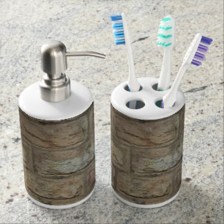 Brick Toothbrush Holder and Soap Dispenser Set