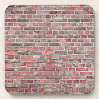 brick wall  background - red vintage stone coaster