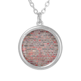 brick wall  background - red vintage stone silver plated necklace
