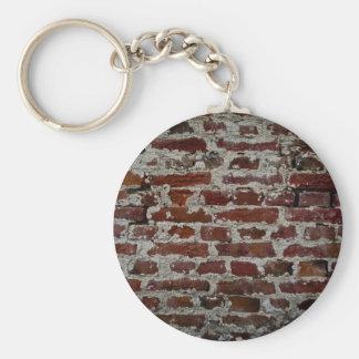Brick wall basic round button keychain