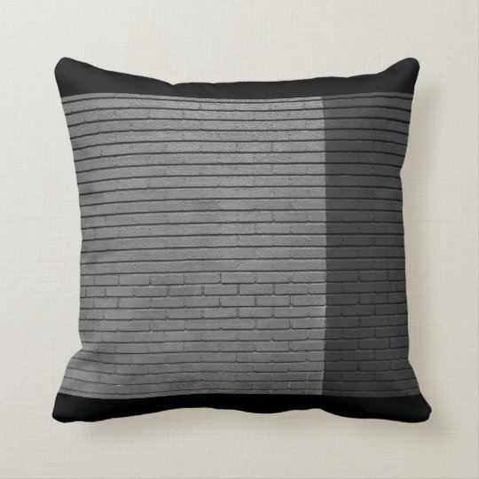 Brick wall- Black and Grey Throw Pillow