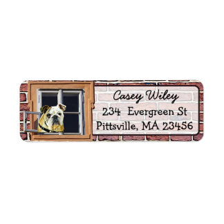 Brick Wall Dog Window background  Address Label