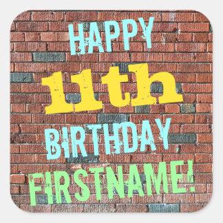 Brick Wall Graffiti Inspired 11th Birthday + Name Square Sticker