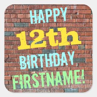 Brick Wall Graffiti Inspired 12th Birthday + Name Square Sticker