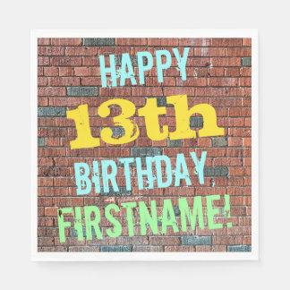 Brick Wall Graffiti Inspired 13th Birthday + Name Napkin