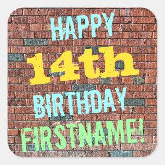 Brick Wall Graffiti Inspired 14th Birthday + Name Square Sticker