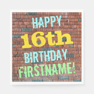 Brick Wall Graffiti Inspired 16th Birthday + Name Paper Napkin