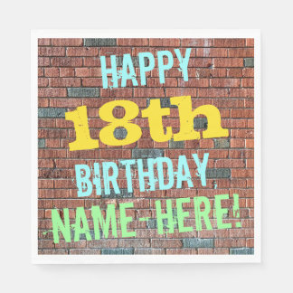 Brick Wall Graffiti Inspired 18th Birthday + Name Paper Napkin