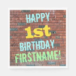 Brick Wall Graffiti Inspired 1st Birthday + Name Paper Napkin