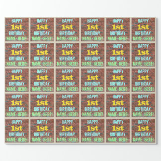 Brick Wall Graffiti Inspired 1st Birthday + Name Wrapping Paper