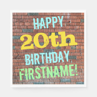 Brick Wall Graffiti Inspired 20th Birthday + Name Paper Napkin