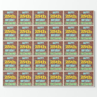 Brick Wall Graffiti Inspired 25th Birthday + Name Wrapping Paper
