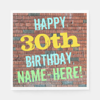 Brick Wall Graffiti Inspired 30th Birthday + Name Paper Napkin