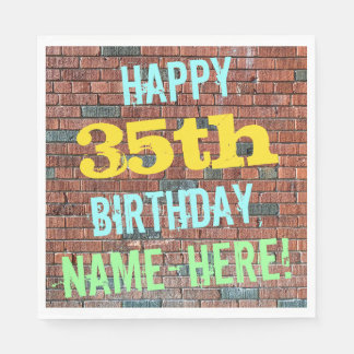 Brick Wall Graffiti Inspired 35th Birthday + Name Paper Napkin
