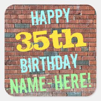 Brick Wall Graffiti Inspired 35th Birthday + Name Square Sticker