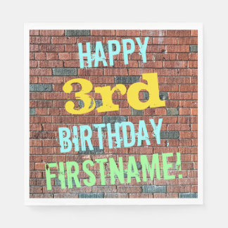 Brick Wall Graffiti Inspired 3rd Birthday + Name Paper Napkin