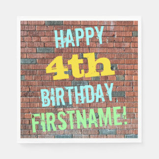 Brick Wall Graffiti Inspired 4th Birthday + Name Paper Napkin