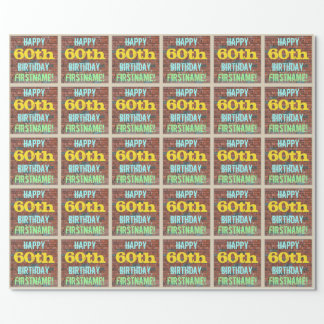 Brick Wall Graffiti Inspired 60th Birthday + Name Wrapping Paper