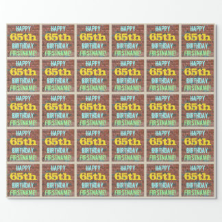 Brick Wall Graffiti Inspired 65th Birthday + Name Wrapping Paper