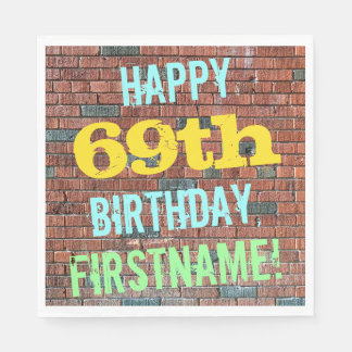 Brick Wall Graffiti Inspired 69th Birthday + Name Napkin