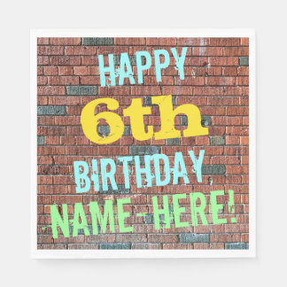 Brick Wall Graffiti Inspired 6th Birthday + Name Paper Napkin