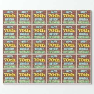 Brick Wall Graffiti Inspired 70th Birthday + Name Wrapping Paper