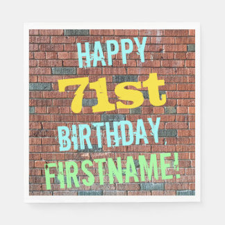 Brick Wall Graffiti Inspired 71st Birthday + Name Paper Napkin