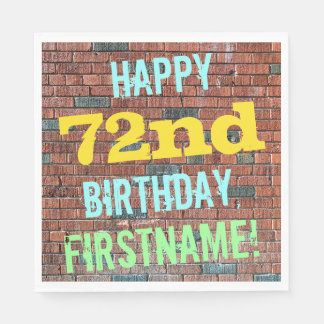 Brick Wall Graffiti Inspired 72nd Birthday + Name Paper Napkin