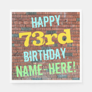 Brick Wall Graffiti Inspired 73rd Birthday + Name Paper Napkin
