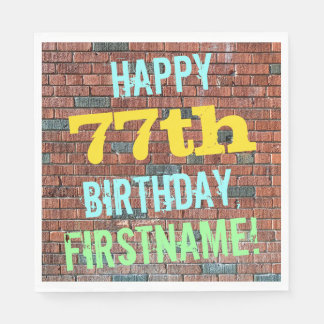 Brick Wall Graffiti Inspired 77th Birthday + Name Napkin