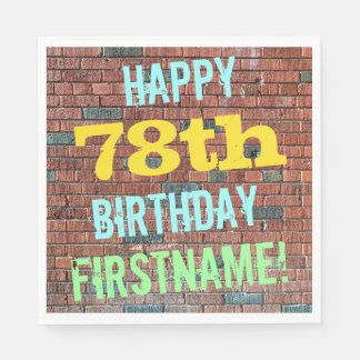 Brick Wall Graffiti Inspired 78th Birthday + Name Paper Napkin