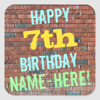 Brick Wall Graffiti Inspired 7th Birthday + Name Square Sticker