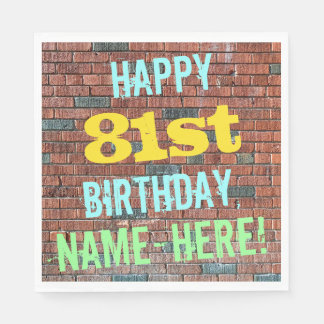 Brick Wall Graffiti Inspired 81st Birthday + Name Paper Napkin