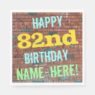 Brick Wall Graffiti Inspired 82nd Birthday + Name Paper Napkin
