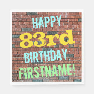 Brick Wall Graffiti Inspired 83rd Birthday + Name Napkin
