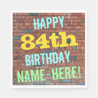 Brick Wall Graffiti Inspired 84th Birthday + Name Paper Napkin