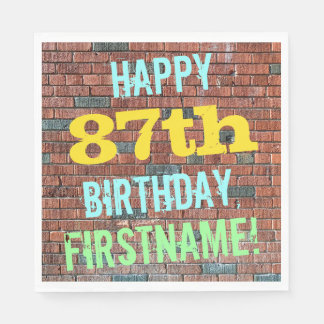 Brick Wall Graffiti Inspired 87th Birthday + Name Paper Napkin