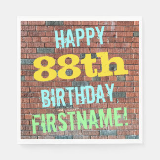 Brick Wall Graffiti Inspired 88th Birthday + Name Paper Napkin
