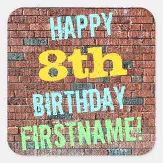 Brick Wall Graffiti Inspired 8th Birthday + Name Square Sticker