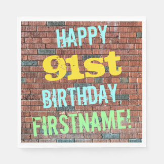 Brick Wall Graffiti Inspired 91st Birthday + Name Paper Napkin