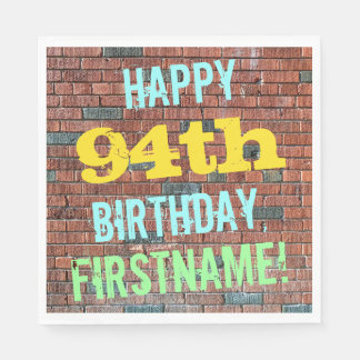 Brick Wall Graffiti Inspired 94th Birthday + Name Napkin
