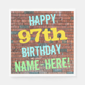 Brick Wall Graffiti Inspired 97th Birthday + Name Napkin