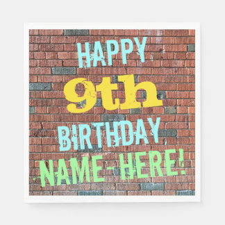 Brick Wall Graffiti Inspired 9th Birthday + Name Paper Napkin
