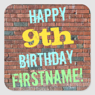 Brick Wall Graffiti Inspired 9th Birthday + Name Square Sticker