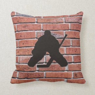 Brick Wall Hockey Goalie Silhouette Throw Pillow